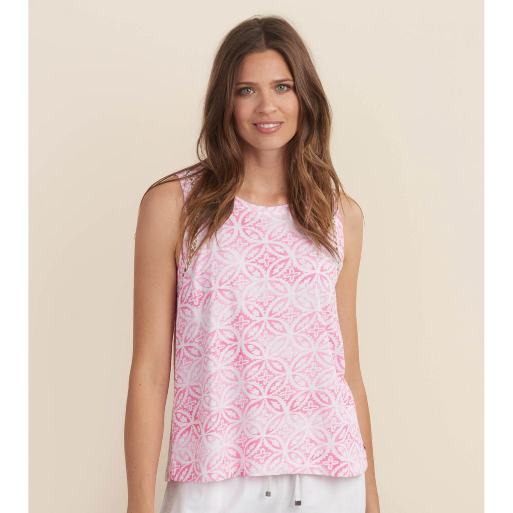 Hatley Emily Tank in White and Lotus Pink