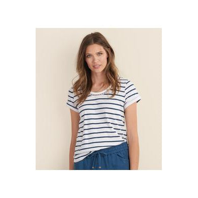 Hatley Cotton Linen Top in  Navy Stripe
