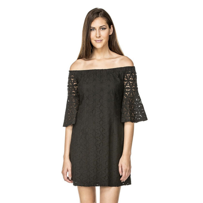 Jade Black Lace Off Shoulder Dress