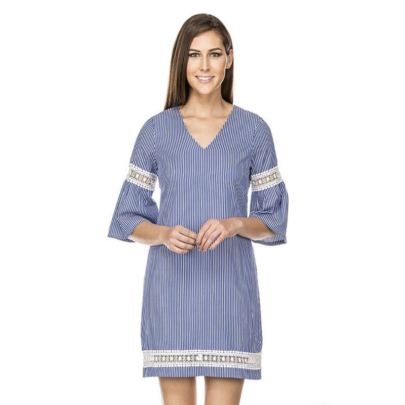 Jade V-Neck Lace Trim Dress in Blue Stripe