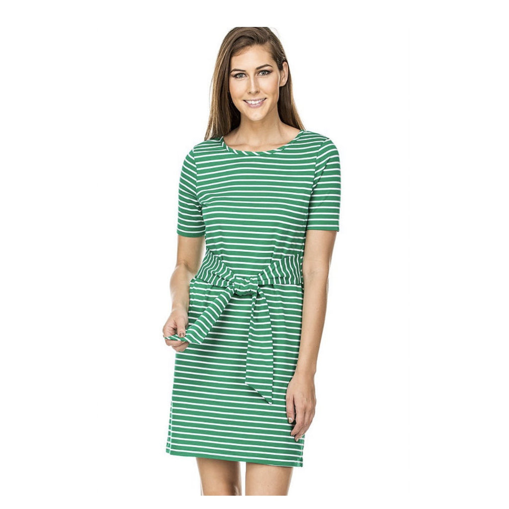 Jade Tie Waist Dress in Green Stripe