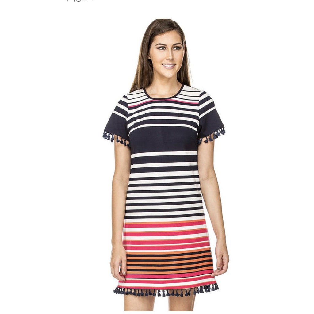 Jade Short Sleeve Dress in PInk Stripe