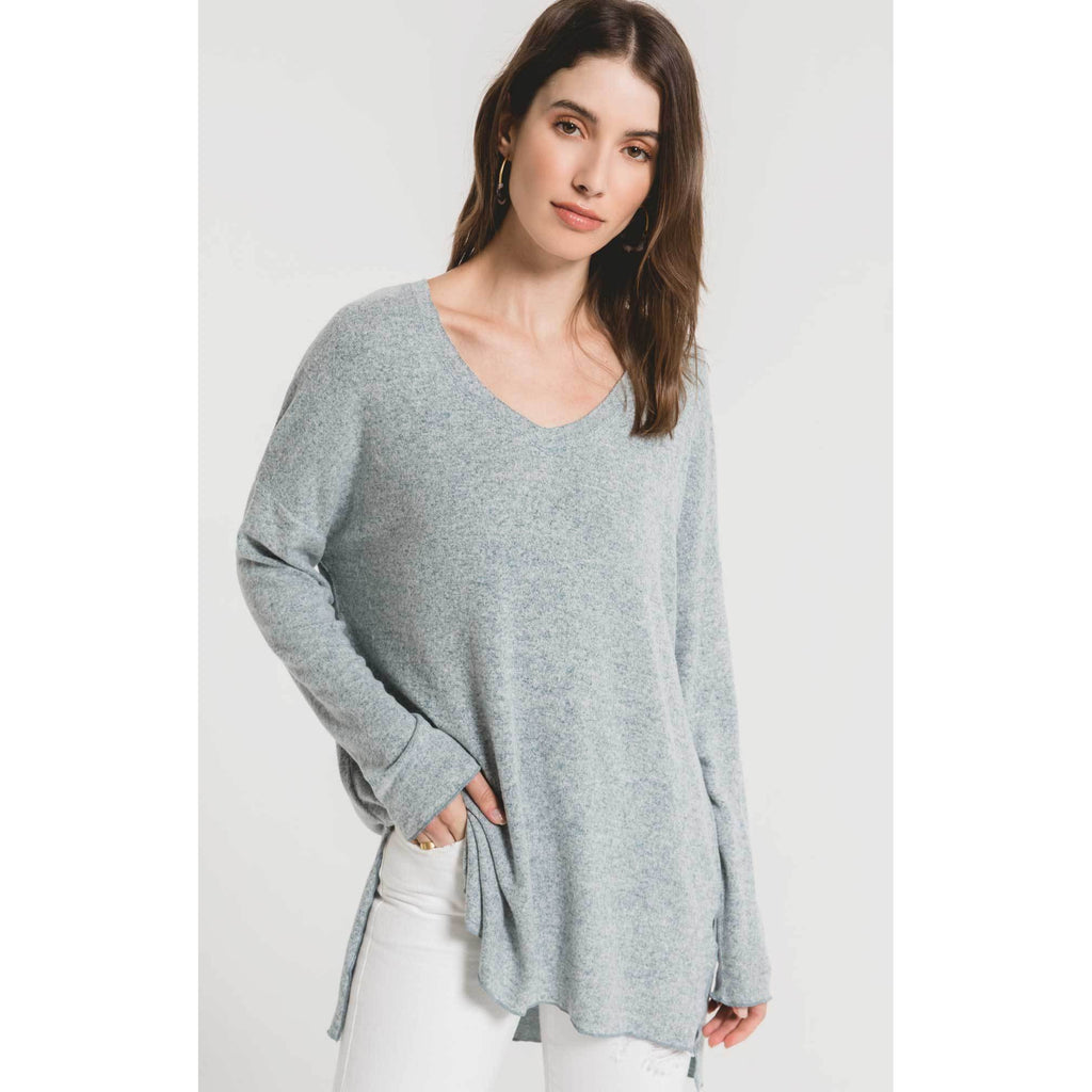 The Marled Sweater Knit V-Neck - Storm Blue Ivory
