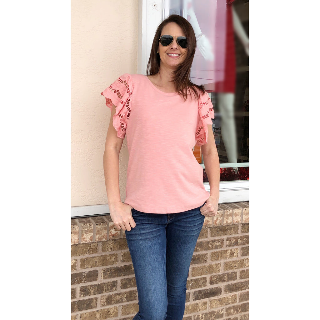 Joy Joy Lace Ruffles Top in Shell Pink