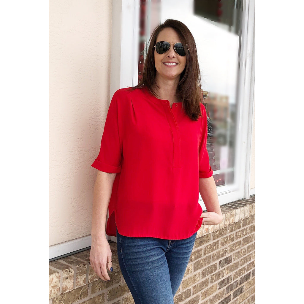 Jade Pop Over Blouse in Red