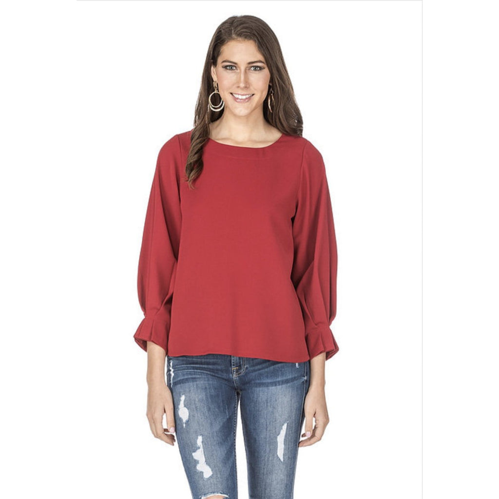 Jade - Pleated Sleeve Top
