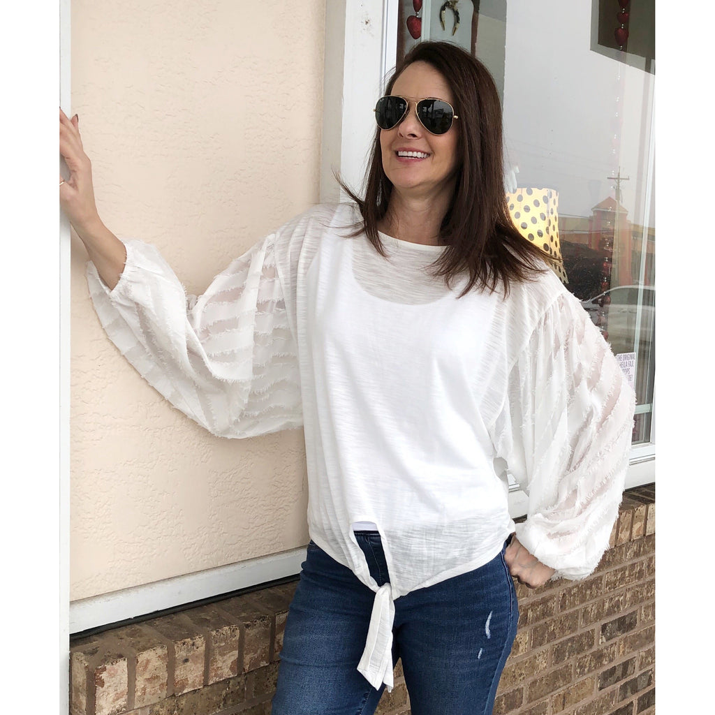 Puff Sleeve White Top