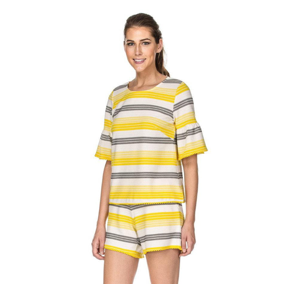 Jade - Yellow Stripe Top