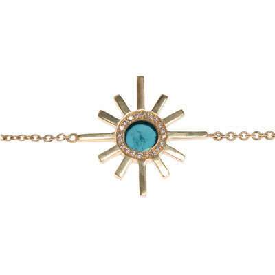 Amaya Jones Blue Tourmaline and Pave Diamond Triple Sun Necklace