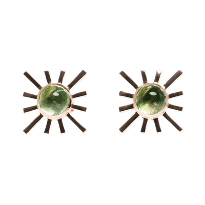 Green Tourmaline Single Sun Earring