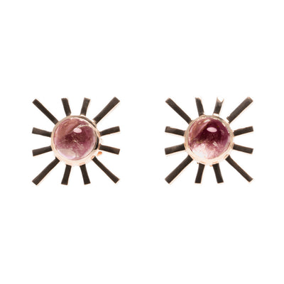Pink Tourmaline Single Sun Earring