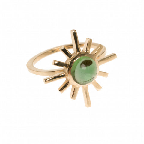 Green Tourmaline Single Band Sun Ring