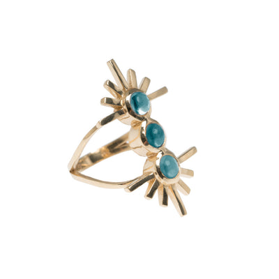 Amaya Jones Blue Tourmaline Triple Sun Ring