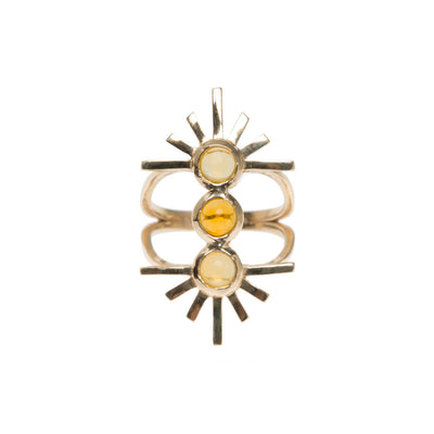 Yellow Tourmaline Triple Sun Ring