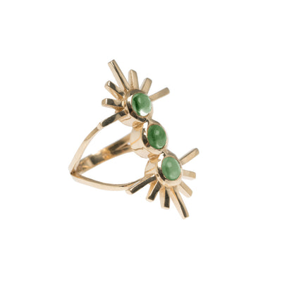 Green Tourmaline Triple Sun Ring
