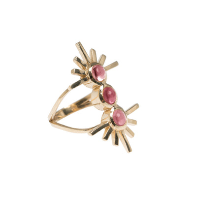 Pink Tourmaline Triple Sun Ring