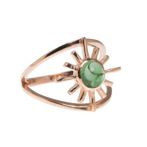 Amaya Jones Green Tourmaline Double Band Sun Ring