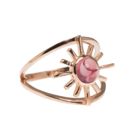 Pink Tourmaline Double Band Sun Ring