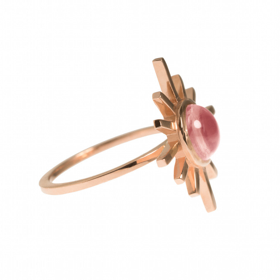 Pink Tourmaline Single Band Sun Ring