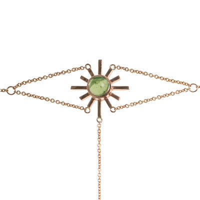 Green Tourmaline Sun Hand Chain
