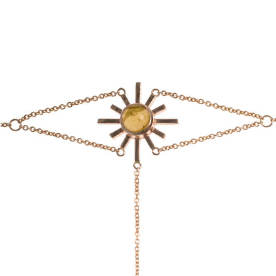 Yellow Tourmaline Sun Hand Chain