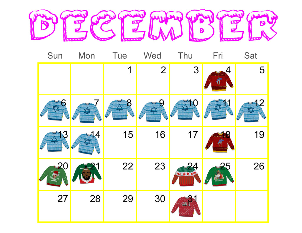 Ugly Holiday Sweater Calendar