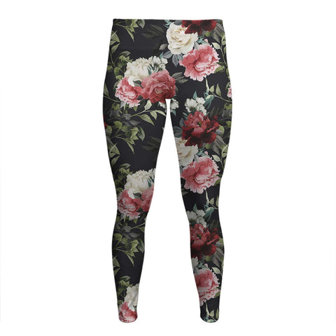 Florals - Women's Yoga Pants - Dark Flowers