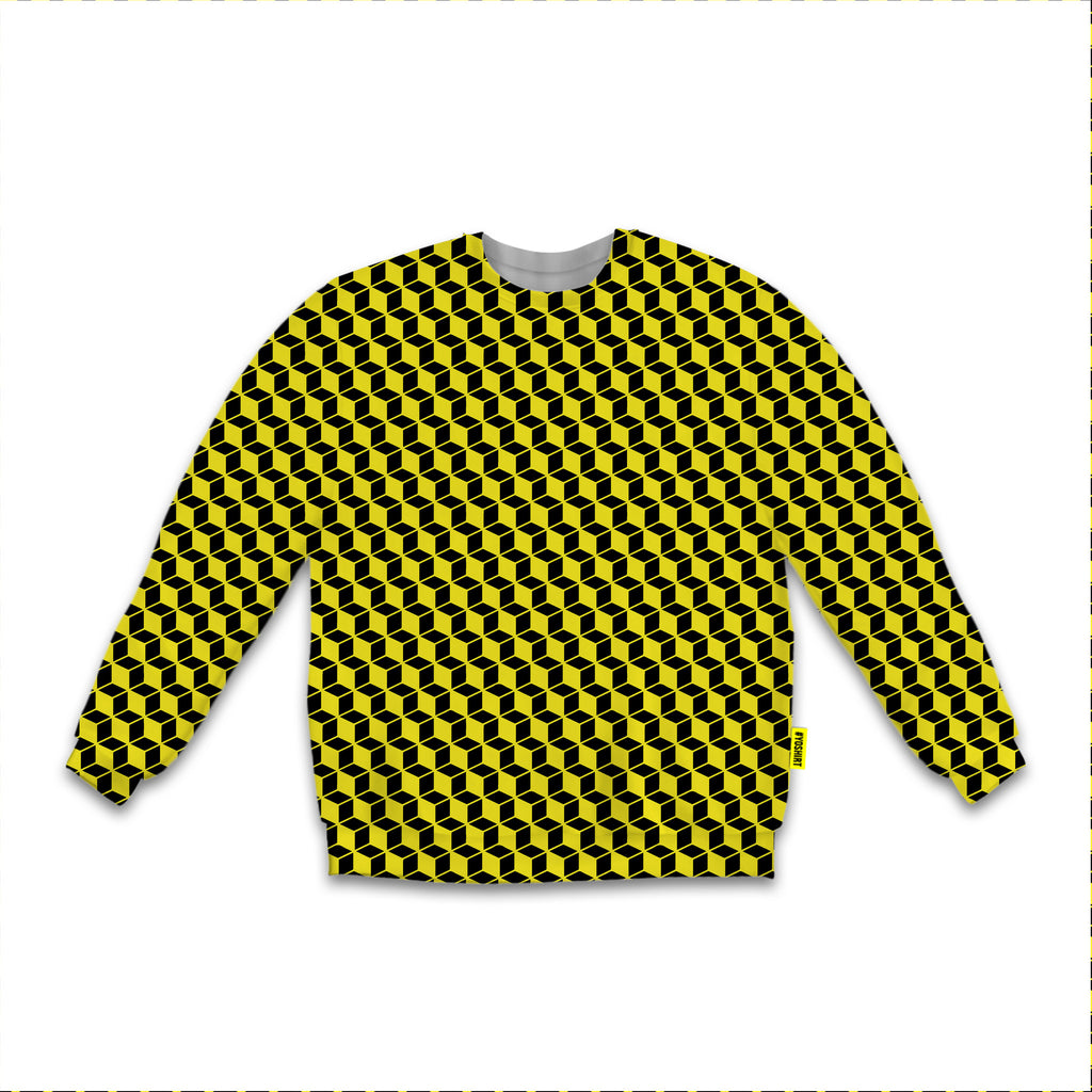 Optical Illusions - Sweatshirt - Yellow Rubix