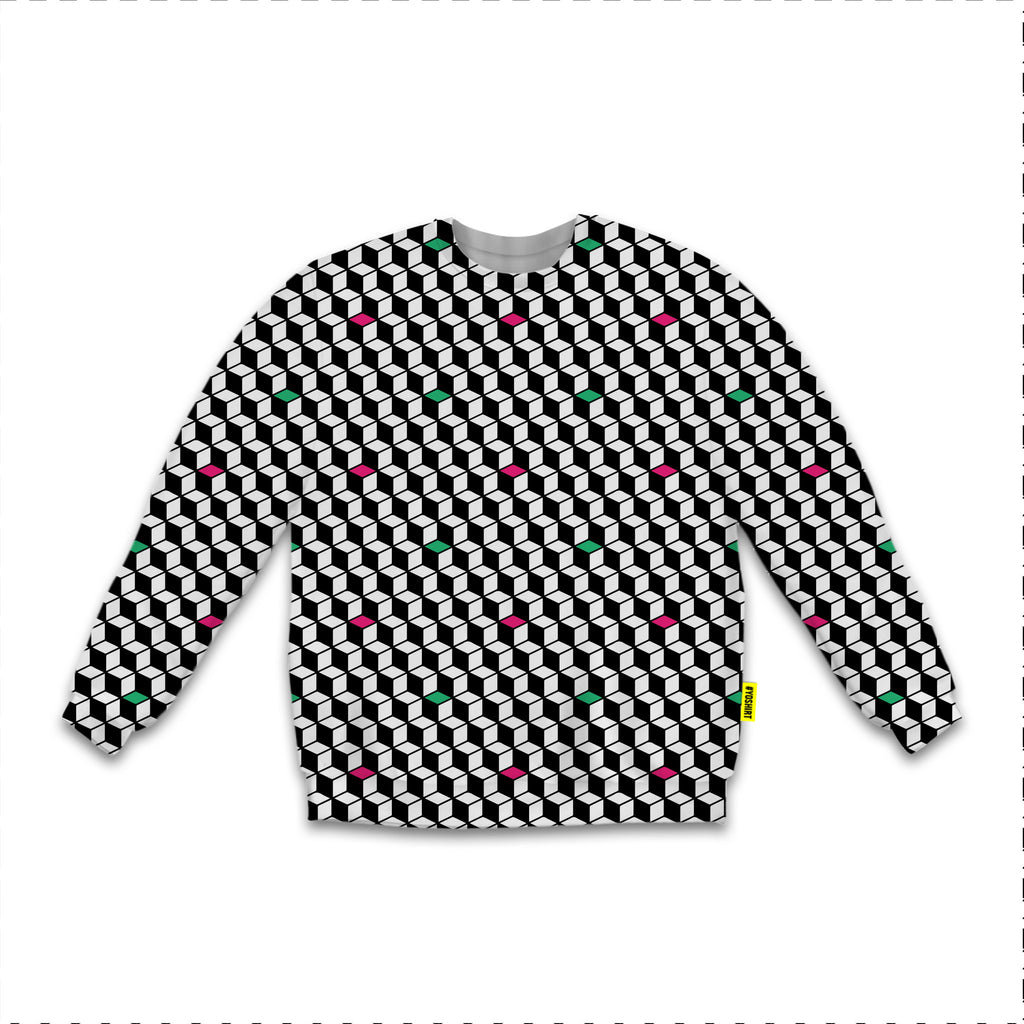Optical Illusions - Sweatshirt - Green Rubix