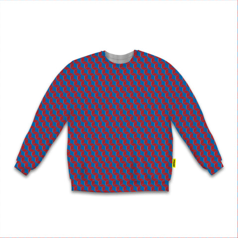 Optical Illusions - Sweatshirt - Maroon Rubix