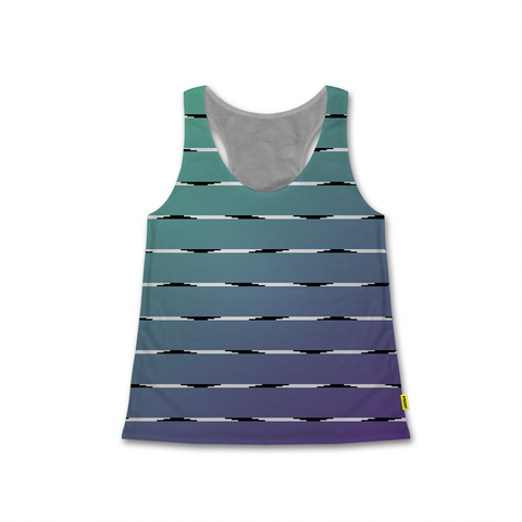 Optical Illusions - Women's Racerback Tank - Teal Lines
