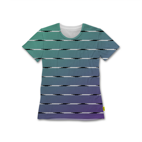 Optical Illusions - Women's Crew Tshirt - Teal Lines