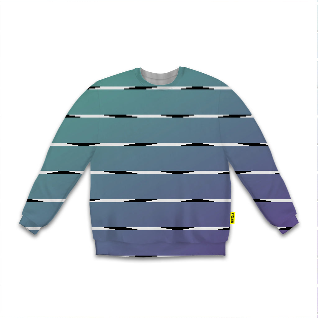 Optical Illusions - Sweatshirt - Teal Lines