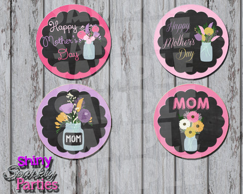 DIY Printable Mother's Day Cupcake Toppers with chalkboard background