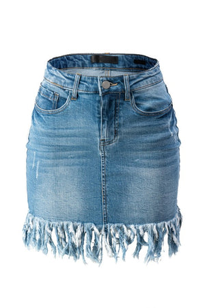 Fringe Denim Skirt, Bottom - Forever Fab Boutique
