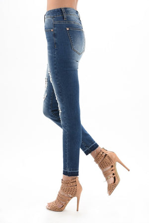 Wild Thing Distressed Skinny Jeans With Leopard Patches 4