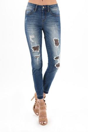 Wild Thing Distressed Skinny Jeans With Leopard Patches 2