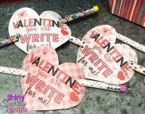 Pencil Valentines - Heart Valentines