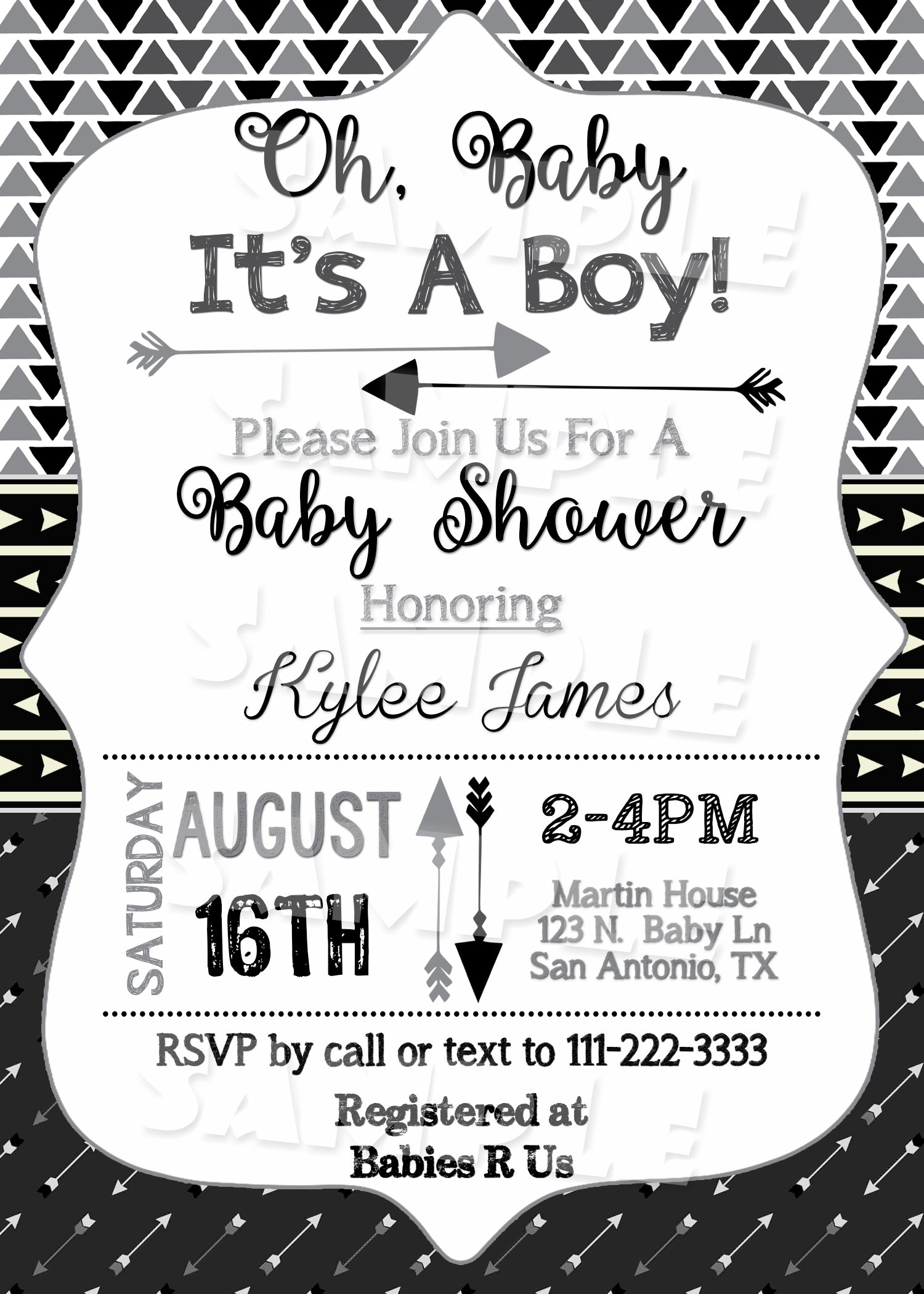 Arrow Baby Shower Invitation in Black - Forever Fab Boutique