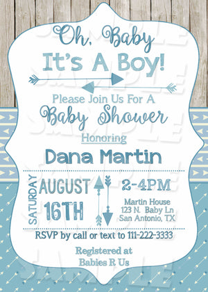 Boho Arrow Baby Shower Invitation in Pink or Blue (Digital File Only), Digital Download, Printable File, Invitation - Forever Fab Boutique