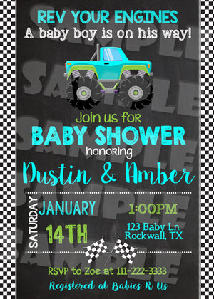 Monster Truck Baby Shower Invitation (Digital File Only), Digital Download, Printable File, Invitation - Forever Fab Boutique