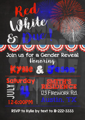 4th of July Gender Reveal Invitation, Digital Download, Printable File, Invitation - Forever Fab Boutique