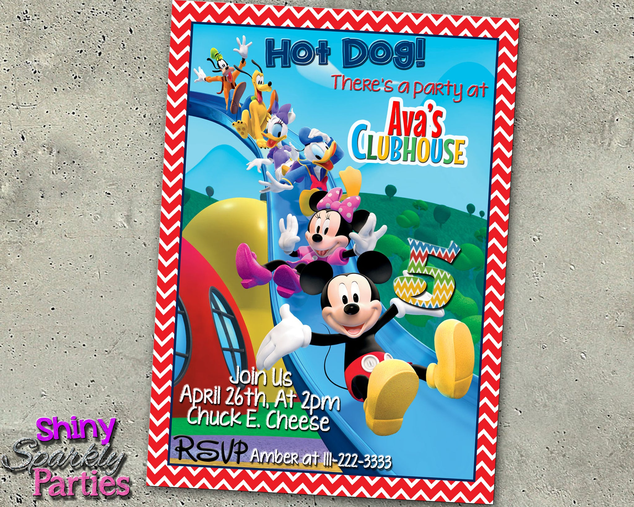 Mickey Mouse Birthday Invitation Forever Fab Boutique