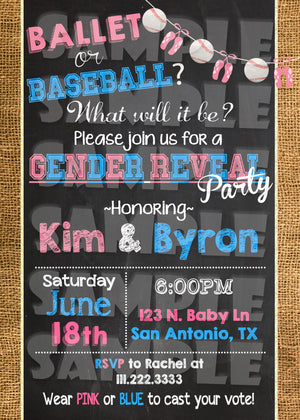 Ballet or Baseball Gender Reveal Invitation