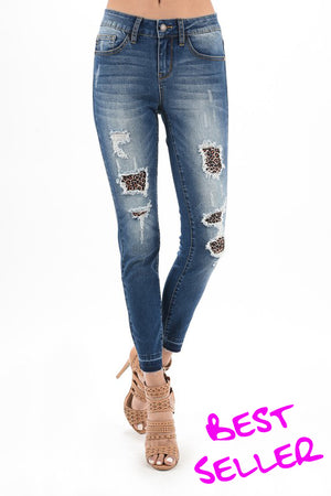 Wild Thing Distressed Skinny Jeans With Leopard Patches