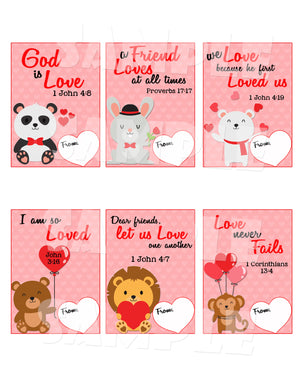 Bible Verse Valentine Cards - Printable Instant Download