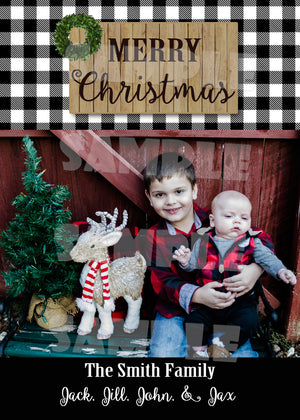 Rustic Buffalo Plaid Christmas Photo Card