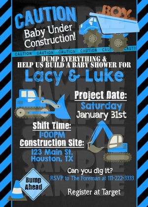 Construction Baby Shower Invitation (Digital File Only), Digital Download, Printable File, Invitation - Forever Fab Boutique