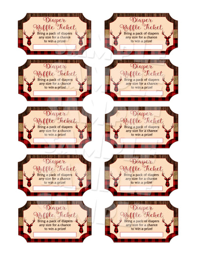 Diaper Raffle Tickets - Made to Match Any Invitation Design