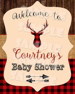 Rustic Deer Welcome Party Sign (Digital File Only), Digital Download, Printable File - Forever Fab Boutique